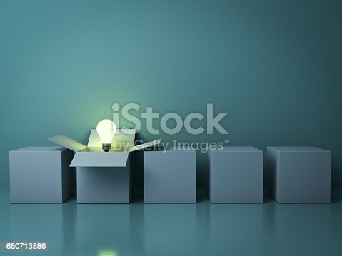istock Stand out from the crowd different creative idea concepts , One white opened box with idea light bulb glowing among close square boxes on green background in the row with reflections . 3D render 680713886