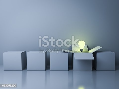Stand out from the crowd different creative idea concepts , One white opened box with idea light bulb glowing among close square boxes on cyan background in the row with reflections . 3D rendering.