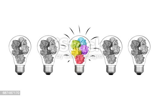 istock Stand out of crowd lightbulb and colorful paper crumpled  isolated on white background  idea business innovate achievement concept object design 687487170