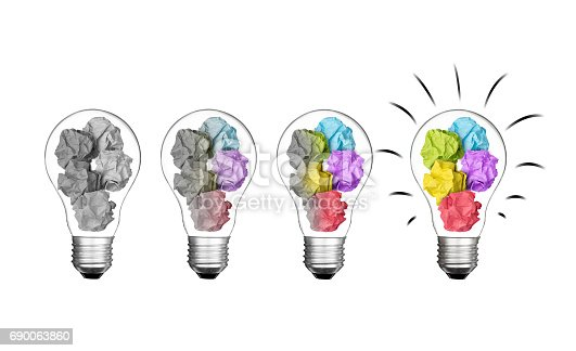 istock Stand out of crowd lightbulb and colorful paper crumpled  isolated on white background  idea business innovate achievement concept object design 690063860