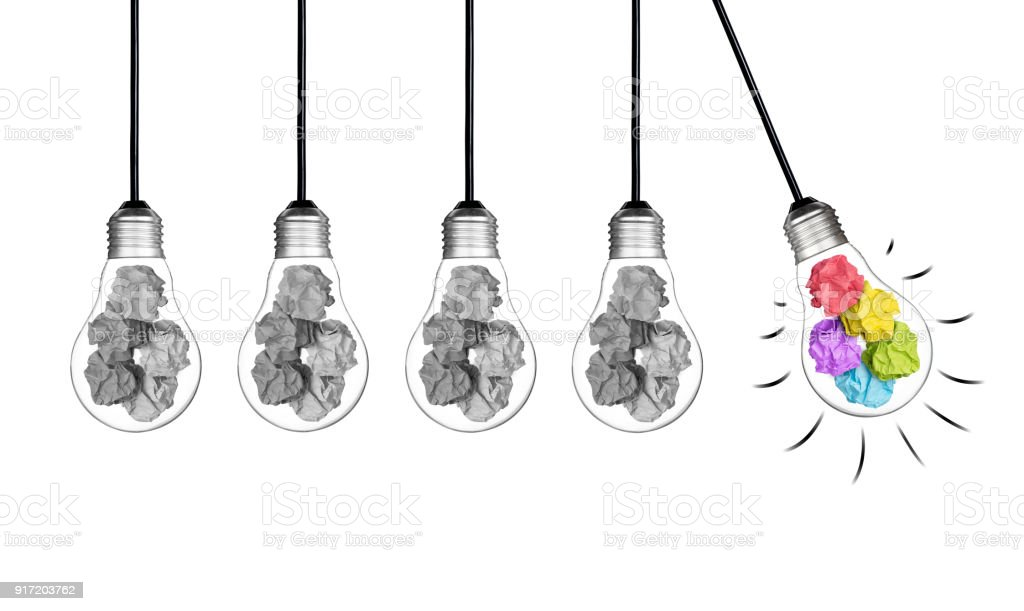 crumple white pendant lamp lighting. Stand Out Of Crowd Lightbulb And Colorful Paper Crumpled Isolated On White Background Idea Business Innovate Crumple Pendant Lamp Lighting