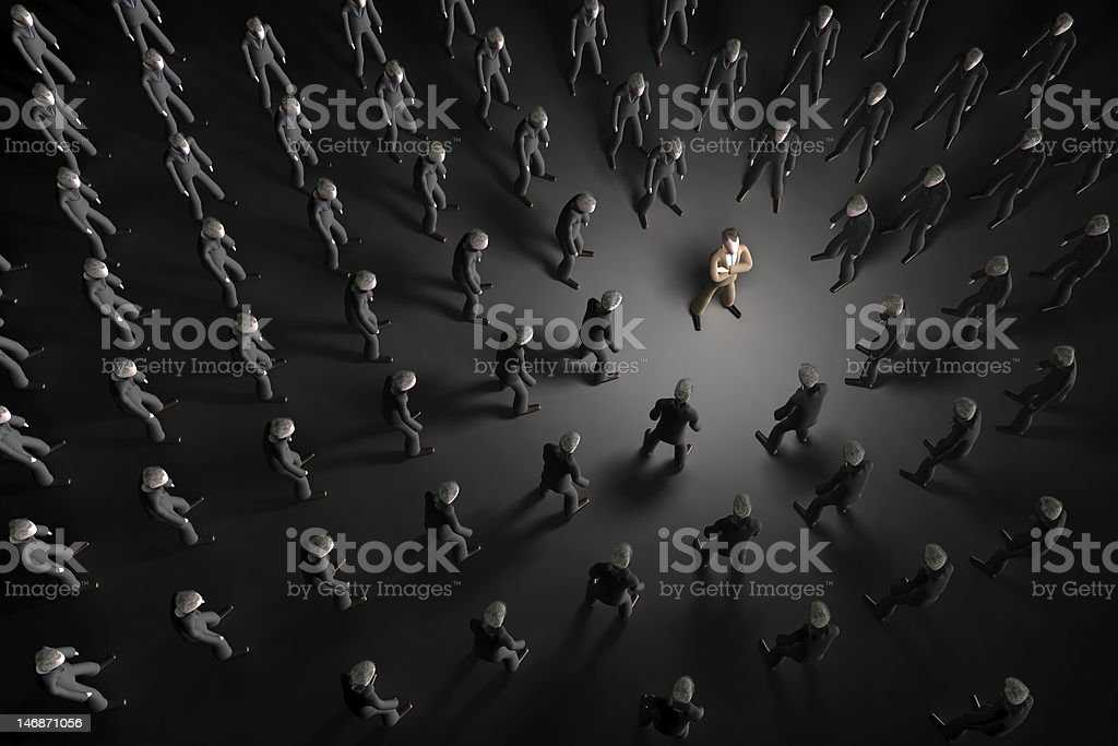 stand out of the crowd stock photo