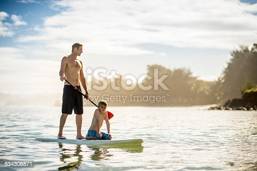 istock SUP Stand Up Paddle Boarding father and son 534308871