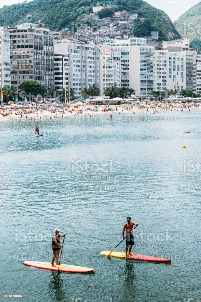 Stand Up Paddle on Copacabana stock photo
