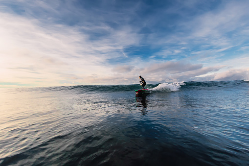 istock Stand Up Paddle surfing on waves. SUP board and surfer in wetsuit in morning 1196364178