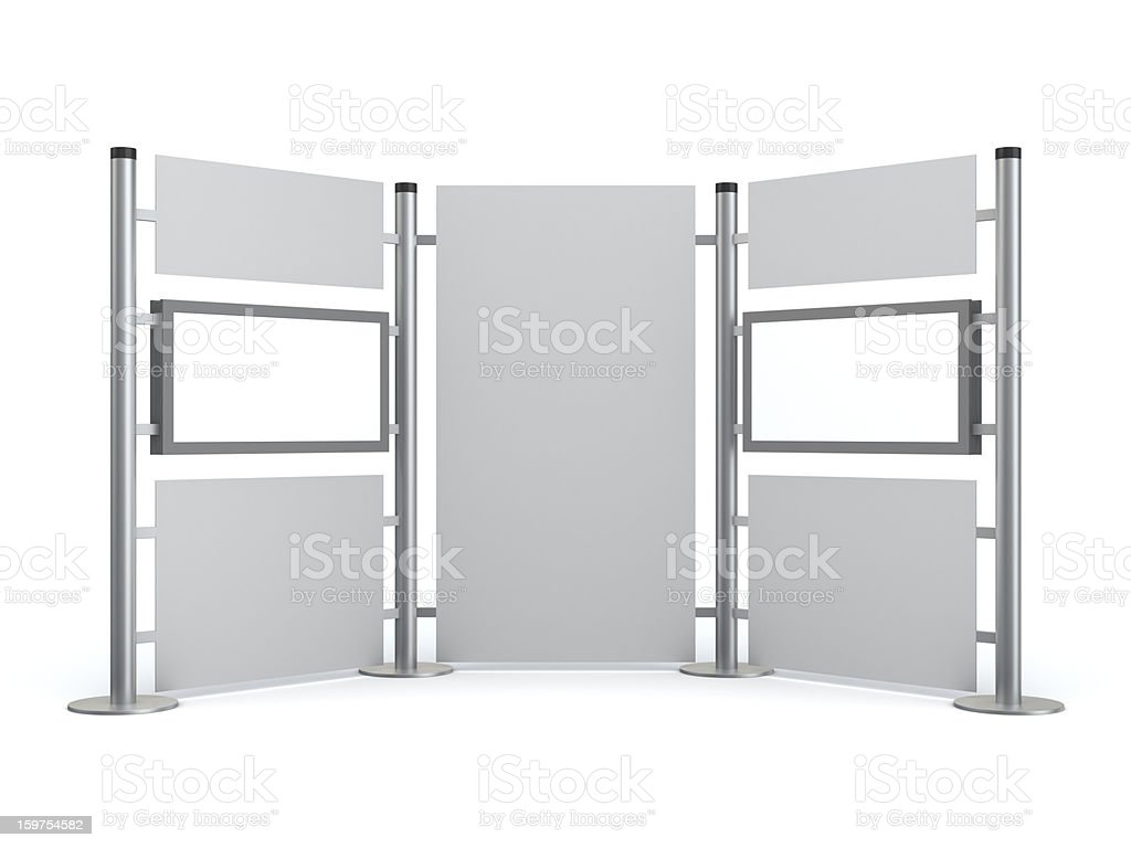 3D stand with blank video LCD displays stock photo