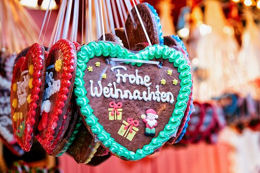 Stand with heart gingerbread sweets at Christmas Market at Berlin