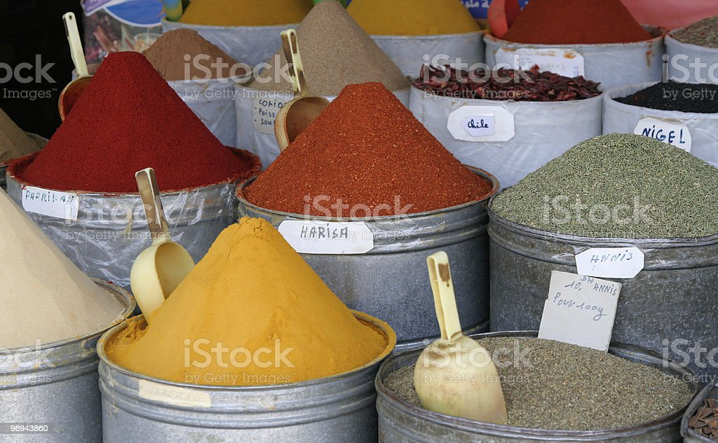 stand with Moroccan spices on Arabic market royalty-free stock photo