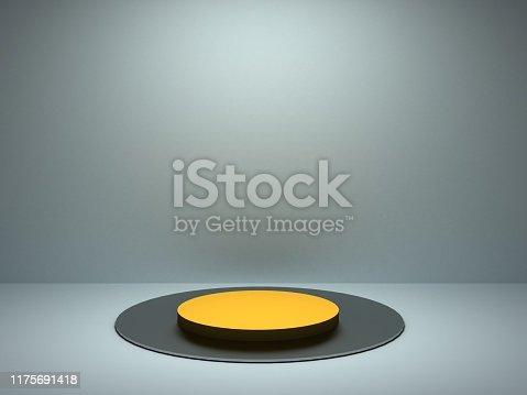 stand with orange neon light 3d rendering