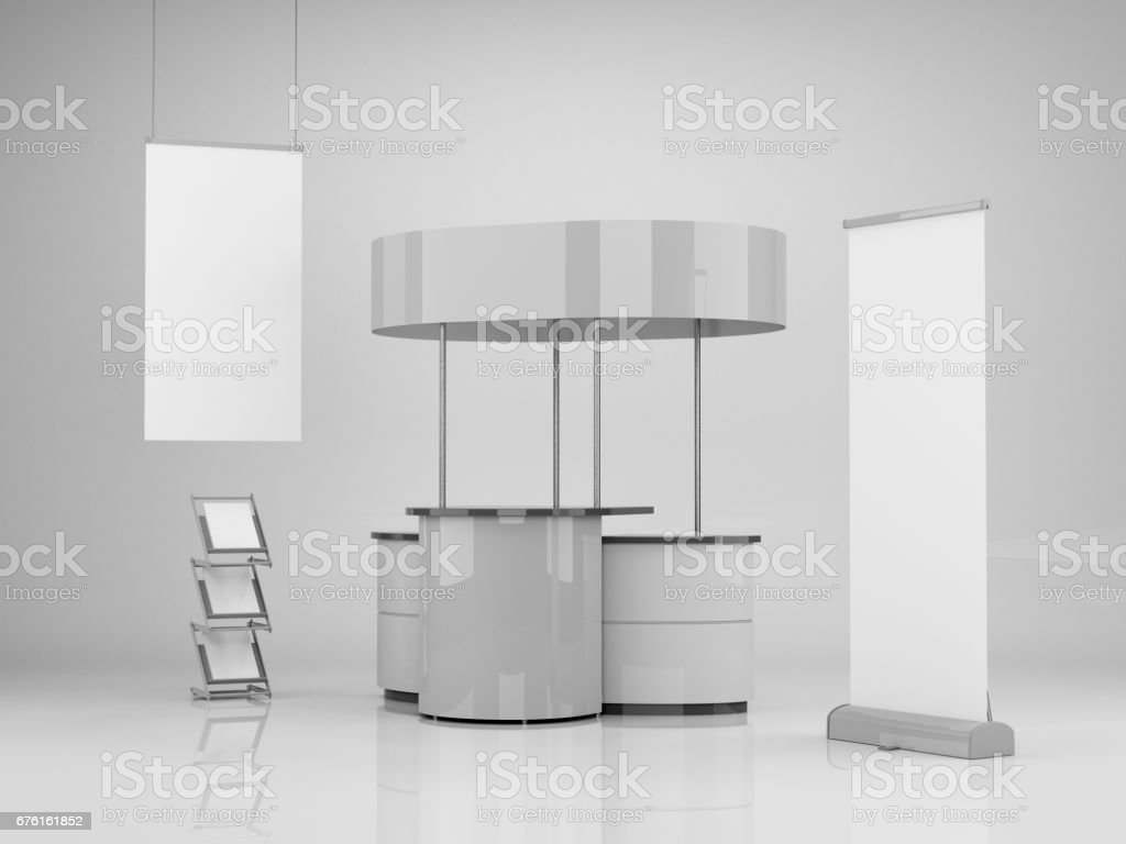 Stand with roll-up - Foto stock royalty-free di Affari