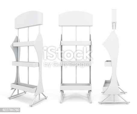 istock Stand with shelves from different angles. 622784760