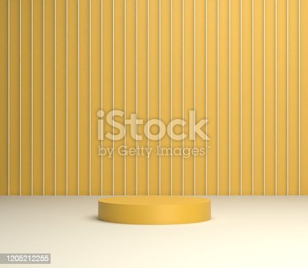 stand with yellow light 3d rendering