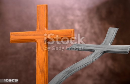 istock stand wood cross for background and inspiration or bookcover or greeting cards 1150698735