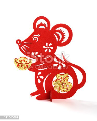 istock standable fluffy paper-cut on white as symbol of Chinese New Year of the rat the Chinese means fortune 1191540689