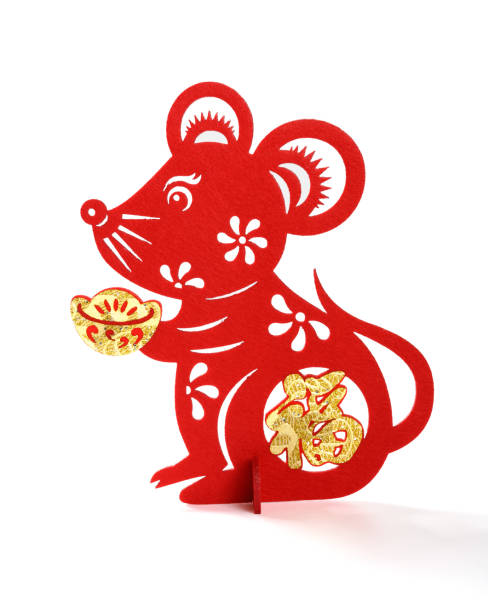 standable fluffy paper-cut on white as symbol of chinese new year of the rat the chinese means fortune - chinese new year stock pictures, royalty-free photos & images