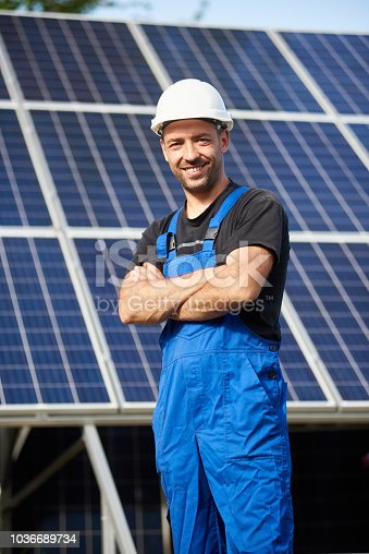 istock Stand-alone exterior solar panel system installation, renewable green energy generation concept. 1036689734