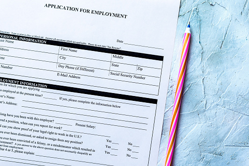 587228412 istock photo Standard Application for Employment 1164214163