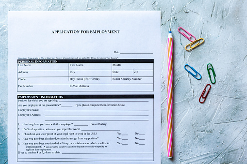 587228412 istock photo Standard Application for Employment 1164219798