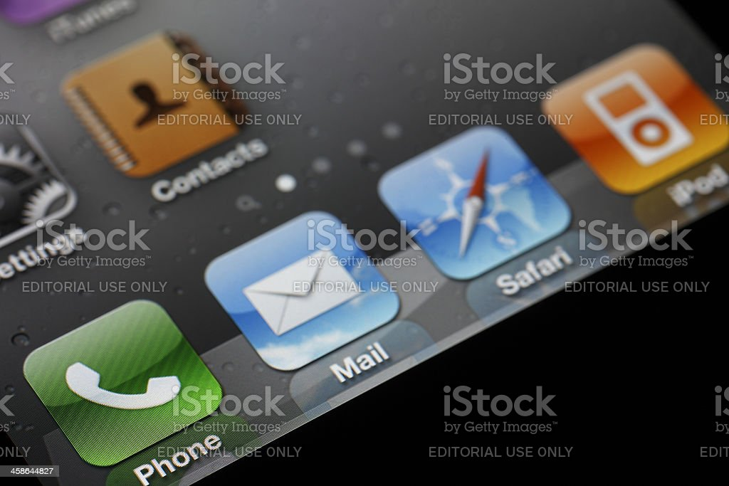 Standard Apps on Apple iPhone 4 royalty-free stock photo