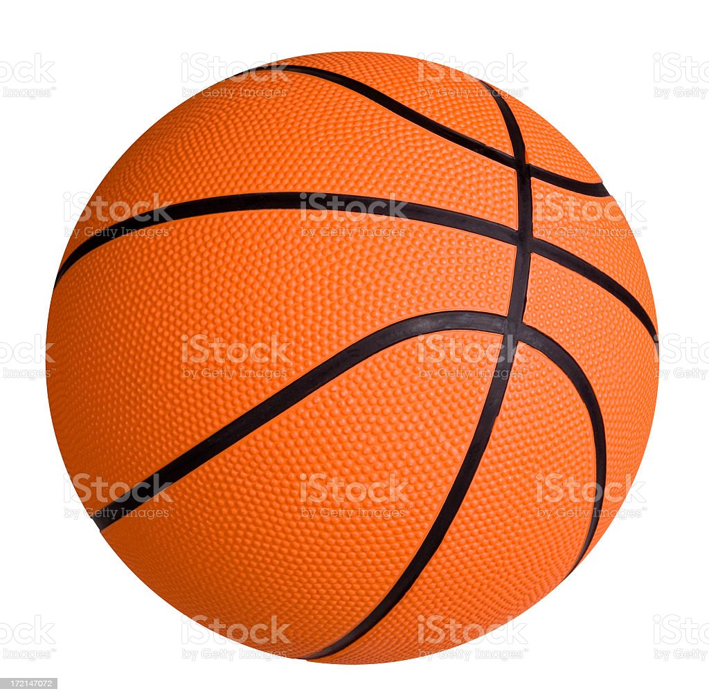 Standard basketball on white surface stock photo