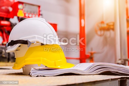 Standard construction safety equipment in control room, Construction and Safety Concept.