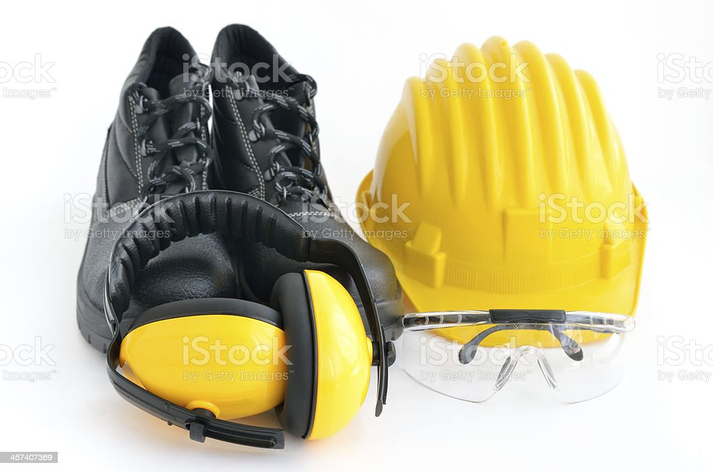 Standard construction safety equipment stock photo