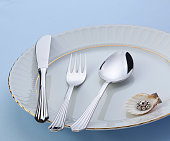 cutlery, knife, spoon and plate