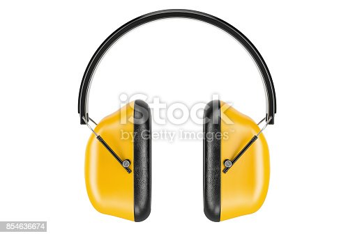 istock Standard Ear Defenders, 3D rendering isolated on white background 854636674