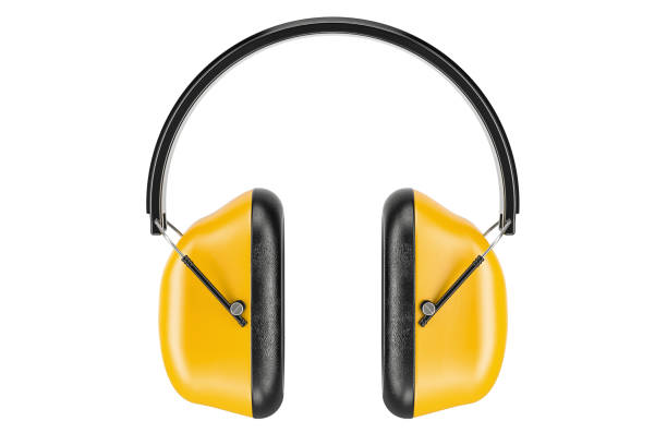 standard ear defenders, 3d rendering isolated on white background - protective workwear stock pictures, royalty-free photos & images