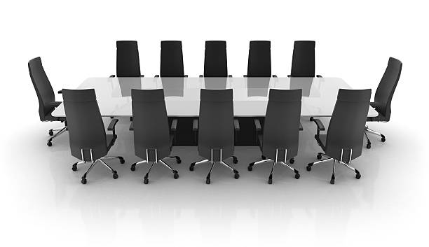 Standard long office conference table stock photo