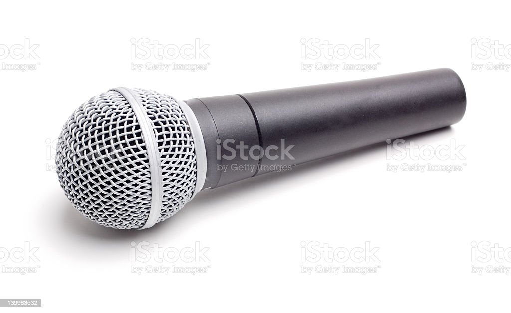 A standard microphone isolated on a white background stock photo