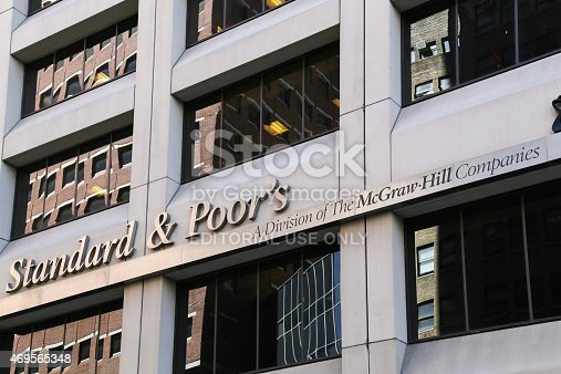 New York City, USA - May 19, 2014: The headquarter of the american financial company Standard and Poors€œ in Lower manhattan. The picture shows the logo and the front of the building