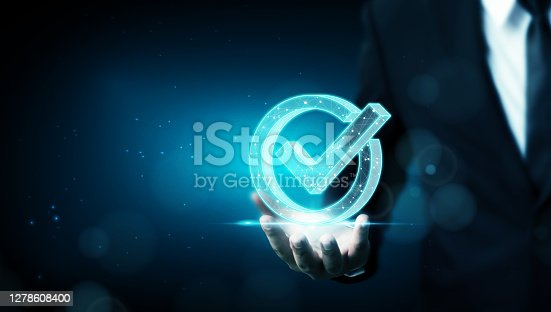 istock Standard quality control certification assurance guarantee. Concept of internet business technology digital 1278608400