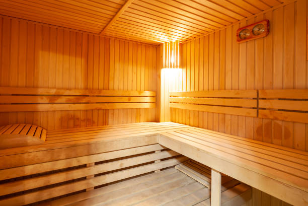 Standard wooden sauna interior Standard wooden sauna interior sauna stock pictures, royalty-free photos & images