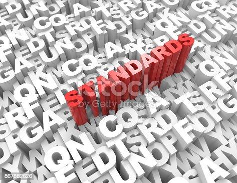 508610235 istock photo standards word on alphabet 3d render 867882626