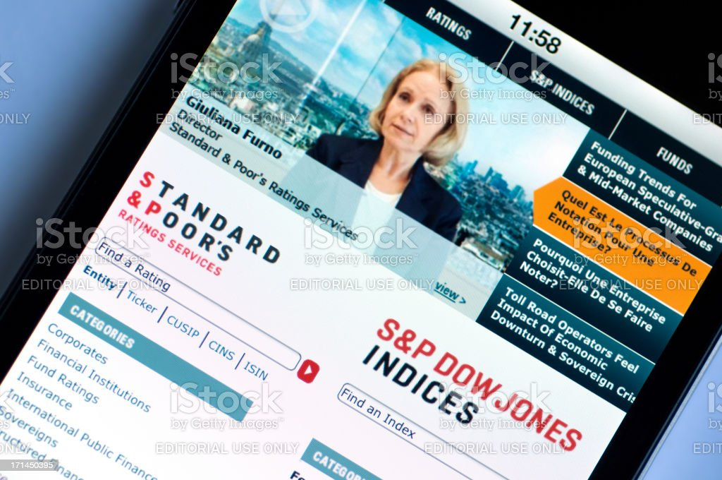 Standars & Poor's home page on Iphone 4 stock photo