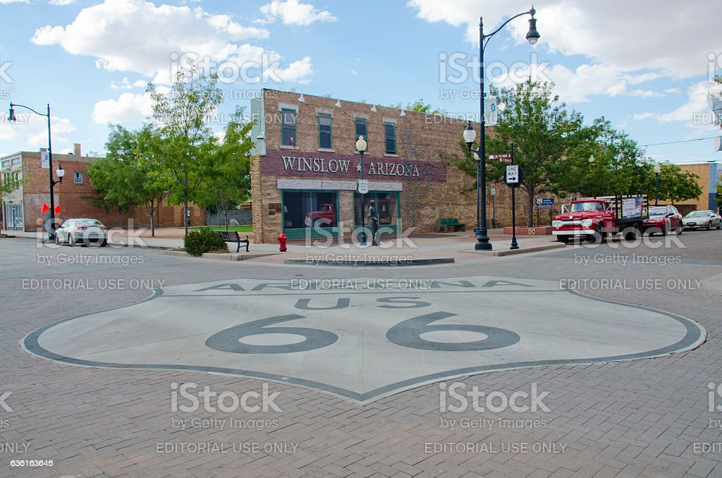Standin' On The Corner Park and Route 66 stock photo