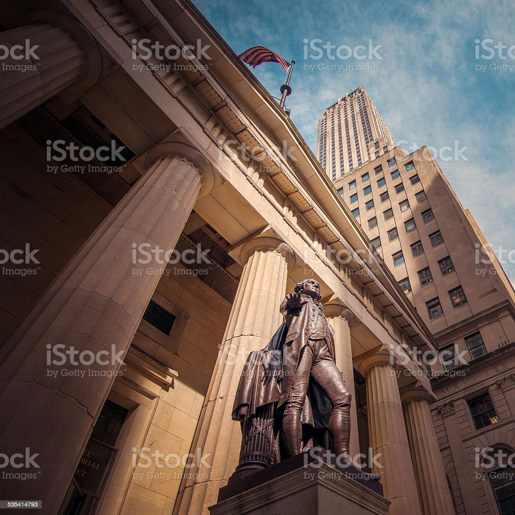 Standing at he heart of money stock photo