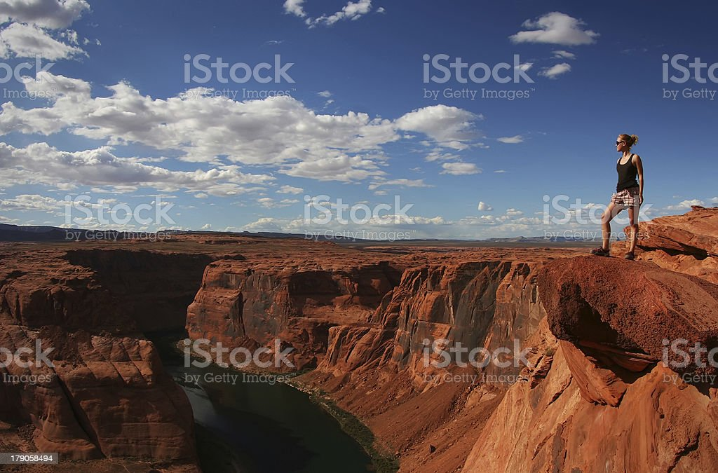 Standing at the Edge - Horseshoe Bend stock photo