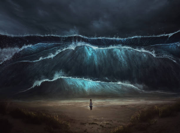 standing before tidal wave - storm stock photos and pictures