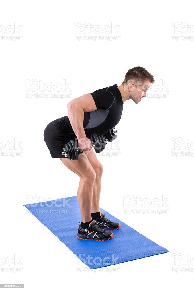Standing Bent Over Dumbbells Row workout stock photo