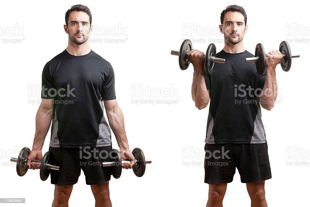 Levantamento de bíceps em pé, halteres - foto de acervo