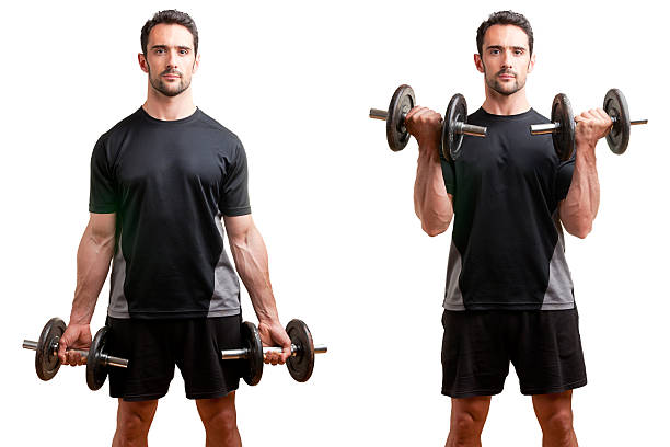 standing bicep dumbbell curl - curled up stock pictures, royalty-free photos & images