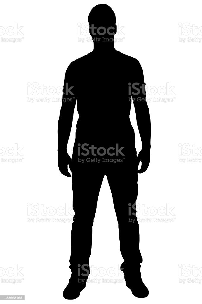 Standing boy's silhouette. stock photo