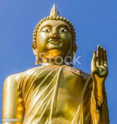 istock Standing Buddha Statue in Thailand 637025920