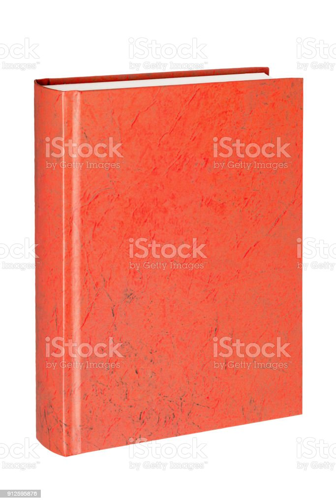 standing closed red book in white background stock photo