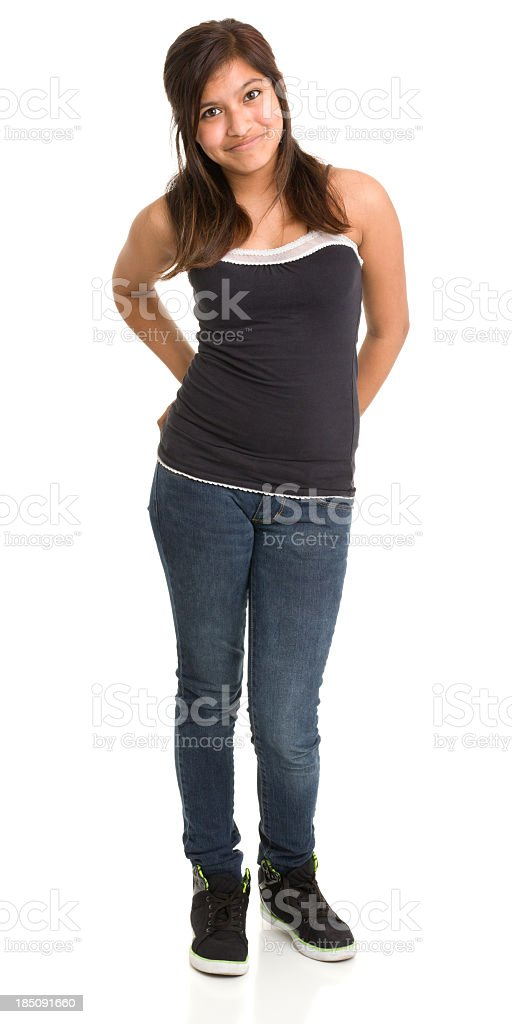 Standing Content Teenage Girl royalty-free stock photo