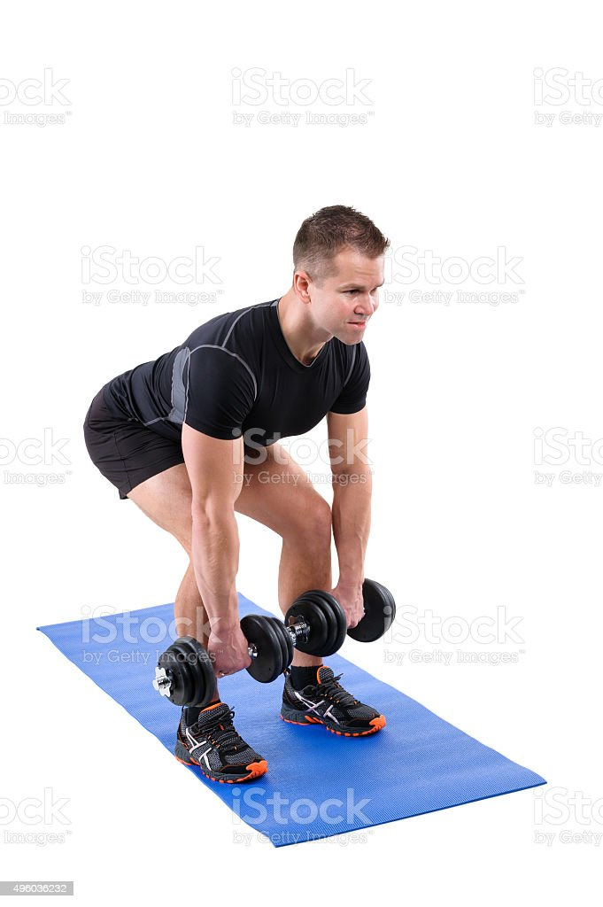 Standing Dumbbell Calf Raise Or Squats Workout Stock Photo More