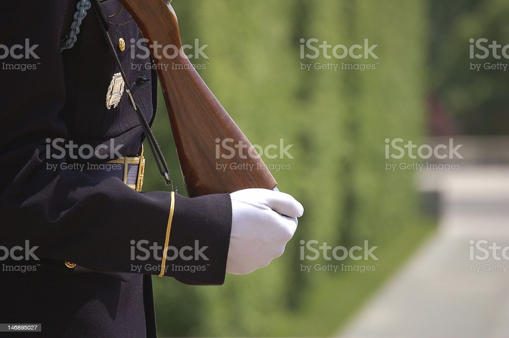 Standing Guard at Tomb of the Unknown Soldier stock photo