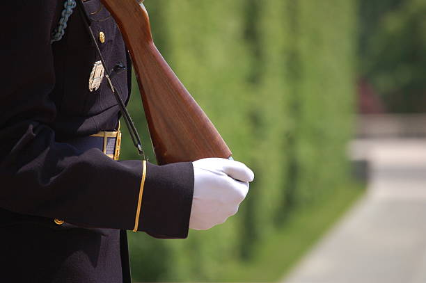 standing guard at tomb of the unknown soldier - arlington national cemetery stock pictures, royalty-free photos & images